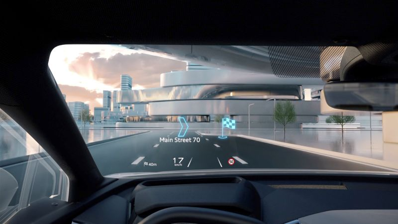 title image of Audi Q4 e-tron – Augmented Reality Head-Up-Display (70 inches big virtual screen)