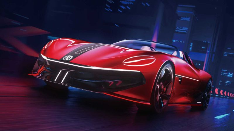 title image of First photos of the all-electric MG Cyberster concept sports car